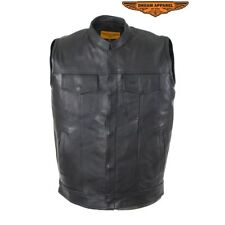 MENS SOA MOTORCYCLE PREMIUM COWHIDE LEATHER VEST w/ CONCEAL CARRY POCKETS - DC3