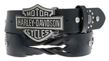 Harley-Davidson Womens Hairpin Twisted Leather B&S Buckle Black Belt by LODIS
