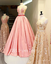 2017 Elegant Pink Evening Dresses Sequins Flowers Appliques Formal Prom Gowns