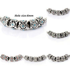 10pcs Silver Plated Pink Crystal Charm Flower Beads For Chain Bracelets jewelry