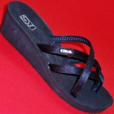 NEW Women's TEVA MANDALYN Black  Thongs Flip Flops Strappy Wedge Sandals Shoes