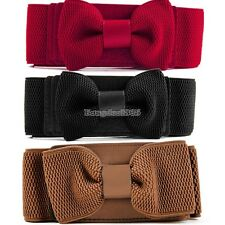 Women Girls Graceful Bowknot Elastic Lovely Belt With Buckle Waistband ED