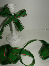 SANTA'S WORKSHOP Elf Elves Green Red Gold Christmas - Luxury Wire Edged Ribbon