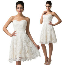 Women Strapless Bridesmaid Cocktail Evening Party Dress Formal Lace Ball Prom