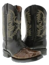 Mens Brown Square Toe Genuine Crocodile Leather Biker Tough Work Cowboy Boots