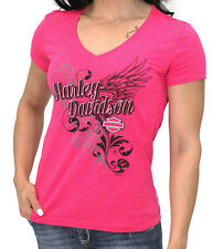 Harley-Davidson Womens Imperial Wings V-Neck Pink Short Sleeve T-Shirt