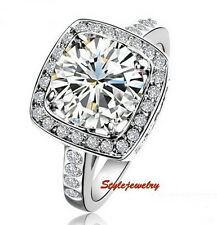 18k White Gold Plated Round Cut Engagement Ring Made With Swarovski Crystal R54