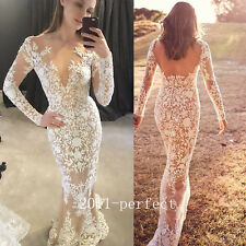 2017 Summer Wedding Dresses Sexy Mermaid Lace V Neck Backless Bridal Gown Custom