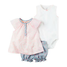 Carter's 3 Piece White Bodysuit, Pink Floral Printed Henley Top with Grey