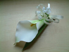 Silk Wedding Flowers - Ivory Calla Lily Buttonhole, Corsage, Groom, Best Man