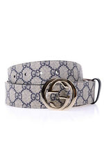 Gucci Belt % GG Supreme Leather MADE IN ITALY Woman Blues 370543KGDHG-4075