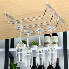 Wine Glass Rack Chrome Holder Under Cabinet Stemware Hanger Shelf Bar Kitchen