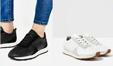Woman ZARA cow leather animal-effect EMBOSSED LEATHER SNEAKERS lace up Athletic