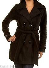Black Double Button Front Fleece Jacket Peacoat Coat  *Also Gray*