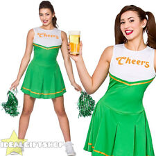 LADIES ST PATRICKS DAY GREEN CHEERLEADER FANCY DRESS COSTUME 'CHEERS' OUTFIT