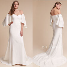 2017 Summer White Evening Dresses Flare Sleeve Long Formal Prom Gowns Custom New