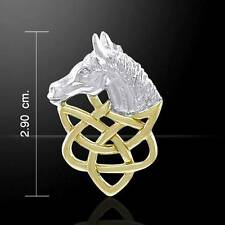 The Grace of the Horse - Silver Celtic Knotwork & 14k Gold Accents Pendant