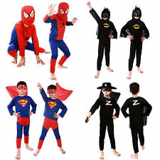 New Kids Boys Girls Spiderman Batman Fancy Dress Party Costumes Superhero Outfit