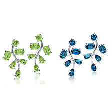 Genuine Gemstone 925 Sterling Silver Leaf Post Earrings