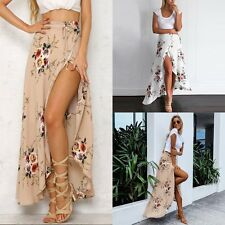 Fashion Womens Floral Skirt Summer Skirt Boho High Waist Beach Long Maxi Dress