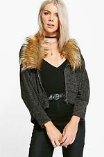 Boohoo Womens Alice Zip Up Faux Fur Collar Cardigan