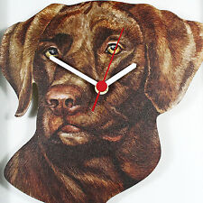 CHOCOLATE LABRADOR DOG WOODEN QUARTZ WALL CLOCK UK HAND MADE BRAND NEW & BOXED
