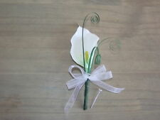 Wedding Flowers Calla Lily & Grass Buttonhole, Corsage, Groom