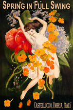 CASTELLUCCIO UMBRIA ITALY SPRING IN FULL SWING GIRL FLOWERS VINTAGE POSTER REPRO