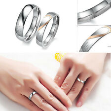 """Stainless Steel """"Real Love"""" Heart Couple Promise Engagement Ring Wedding Band"""