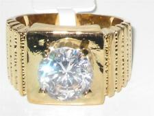 GL106PB MANS SOLITAIRE NUGGET SIMULATED DIAMOND MENS RING SIGNET PINKY GOLD