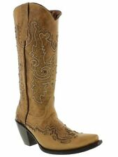 Women's Tall Studded Leather Sand Western Cowboy Cowgirl Boots