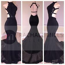 2017 Sexy Black Dress Evening Dresses Backless Formal Prom Party Gowns Custom
