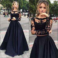 2017 New Black Dress Evening Dresses Lace Top 2 Piece Formal Prom Long Gown