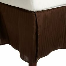 1 Qty Bed Skirt/Valance 1000 TC Egyptian Cotton 35 Drop ~AU Chocolate Stripe