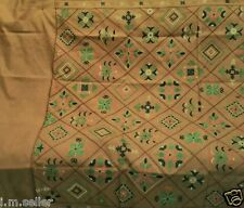 VINTAGE HAND EMBROIDERED PURE SILK FABRIC MATERIAL INDIAN SAREE SARI