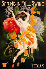 TEXAS SPRING IN FULL SWING GIRL DANCING WITH FLOWERS TRAVEL VINTAGE POSTER REPRO