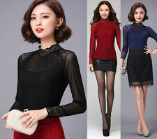 New Fashion Women's Long Sleeve Lace Down Shirts Stand Collar Slim Tops Blouses