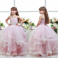 2017 Pink Princess Flower Girl Dress Communion Party Prom Pageant Wedding Events