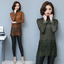 Korean Fashion Women Lady Long Sleeve Turtleneck Thick Warm Lace Shirt Dress Top