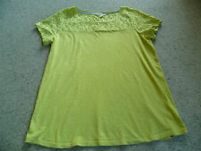 LOVELY WHITE STUFF TOP SIZE 14 LIME GREEN FLORAL YOKE SLEEVES