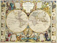 Poster Print Antique Old Maps Old Map Of The World Reprint 9