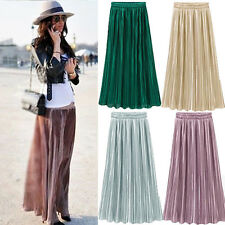 WOMENS STYLISH SOLID COLOR METALLIC PLEATED ELASTIC WAIST LONG MAXI SKIRT LIVELY