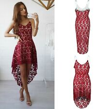 Ladies Sexy Lace Dress Women Sleeveless V-Neck Long Skirt Irregular Dresses