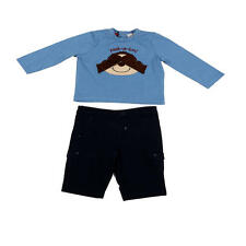 """Quiltex Boys 2 Piece Blue """"Peek-a-boo!"""" Printed Top and Navy Short Set"""
