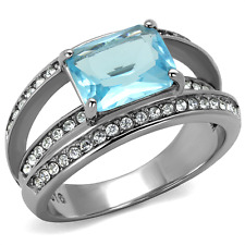 TK2608 BLUE TOPAZ EMERALD CUT PAVE WOMENS SIMULATED DIAMOND RING ALL SIZES