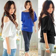 Stylish Lady Women O-Neck Batwing Sleeve Casual Loose Stretch Tops Blouse B20E