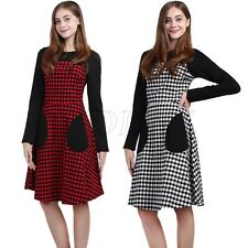 Women Classic Rockabilly Long Sleeve Check Vintage 50s 60s Pinup Swing Dress New