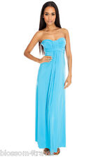 Long Turquoise Maxi Strapless Summer Sun Dress Holiday-Beach-Day-Casual-Evening