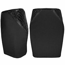 NEW WOMENS PU QUILTED BLACK MINI SKIRT LADIES SIDE ZIP PANEL BODYCON PARTY LOOK