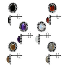 Oval 7x5 Cabochon Gemstone 925 Sterling Silver Balinese Style Post Earrings